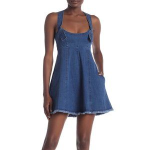 BCBGeneration Frayed Denim Overall Mini Dress
